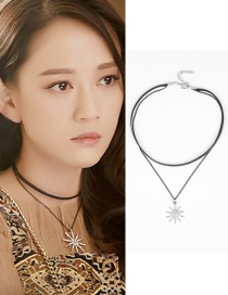 Fashion Silver Color Flower Shape Decorated Choker