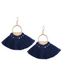 Fashion Blue Tassel Decorated Earrings