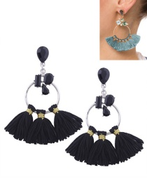 Fashion Black Tassel Decorated Circular Ring Shape Earrings
