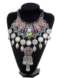 Fashion Multi-color Leaf Shape Decorated Necklace