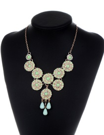 Fashion Green Flower Shape Decorated Pure Color Necklace