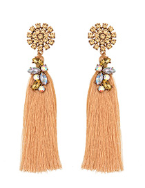Trendy Champagne Pure Color Decorated Long Tassel Design Earrings