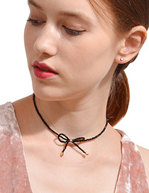 Fashion Black Bowknot Decorated Simple Choker