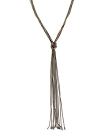 Fashion Silver Color Long Tassel Decorated Pure Color Necklace