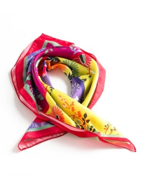 Trendy Multi-color Flower Pattern Decorated Simple Scarf