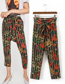 Trendy Multi-color Flower Pattern Decorated Knot Design Pants
