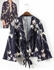 Trendy Multi-color Flower Pattern Decorated Long Sleeves Coat