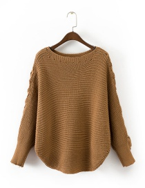Trendy Khaki Pure Color Decorated Bat Sleeves Sweater
