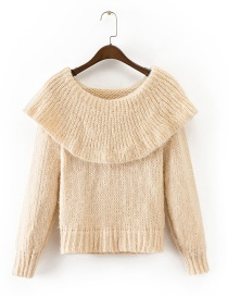 Trendy Beige Pure Color Decorated Lotus Leaf Collar Sweater