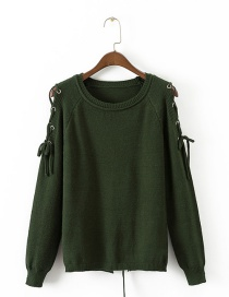 Fashion Olive Pure Color Decorated Hollow Out Sweater