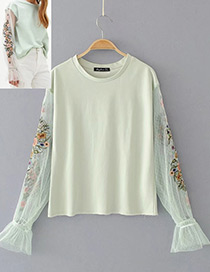 Fashion Light Green Flower Decorated Long Sleeves Lace Blouse