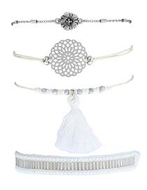 Fashion White Tassel&flower Decorated Simple Bracelet(4pcs)