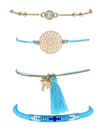 Fashion Blue Tassel&flower Decorated Simple Bracelet(4pcs)