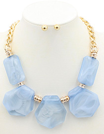 Trendy Blue Geometric Shape Decorated Pure Color Jewelry Sets