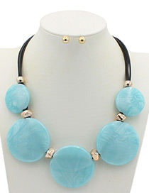 Trendy Blue Round Shape Decorated Pure Color Jewelry Sets