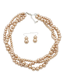 Fashion Coffee Beads Decorated Pure Color Jewelry Sets
