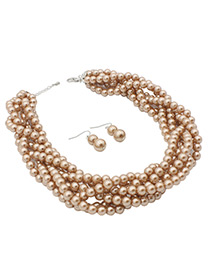 Fashion Coffee Pearls Decorated Pure Color Jewelry Sets