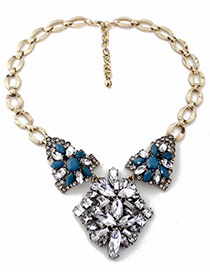 Fashion Blue Gemstone Decorated Flower Shape Necklace