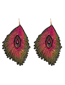 Trendy Plum Red Leaf Shape Decorated Simple Earrings