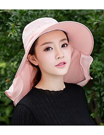 Fashion Pink Pure Color Decorated Anti-uv Hat