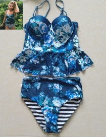 Sexy Blue Flower Pattern Decorated Split Bikini