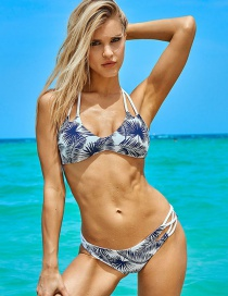 Sexy Dark Blue Maple Leaf Pattern Decorated Bandage Bikini