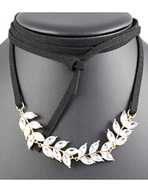 Fashion White Leaf Shape Decorated Multi-layer Choker
