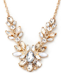 Fashion Gold Color Diamond Decorated Flower Shape Necklace