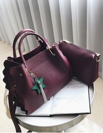 Fashion Claret-red Star Shape Decorated Bag