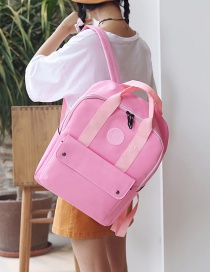 Fashion Pink Pure Color Decorated Waterproof Backpack