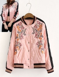 Fashion Pink Flower Decorated Embroidery Coat