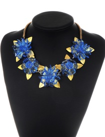 Exaggerated Blue Flower Shape Decorated Necklace