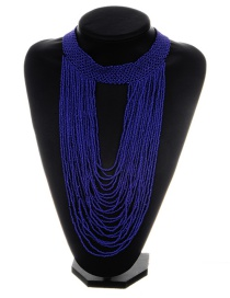 Exaggerated Sapphire Blue Pure Color Decorated Multilayer Necklace