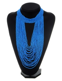 Exaggerated Blue Pure Color Decorated Multilayer Necklace