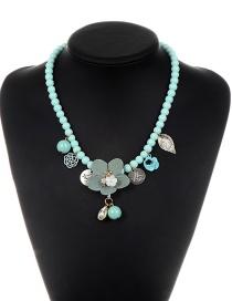 Elegant Light Blue Flower Shape Decorated Necklace