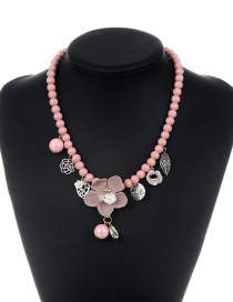 Elegant Pink Flower Shape Decorated Necklace