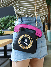 Personality Black Phone Shape Decorated Bag
