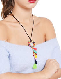 Bohemia Multi-color Round Shape Decorated Long Necklace