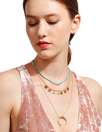 Bohemia Blue+gold Color Moon Decorated Multilayer Necklace