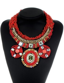 Vintage Red Hand-woven Decorated Necklace