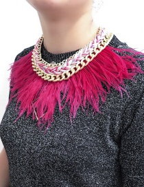 Elegant Plum-red Feather Decorated Short Chain Necklace