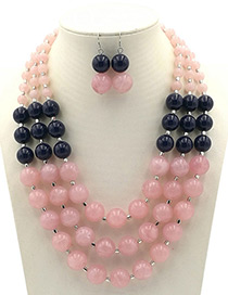 Exaggerated Pink Round Shape Decorated Jewelry Sets