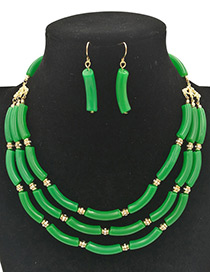 Exaggerated Green Pure Color Decorated Multilayer Jewelry Sets
