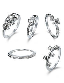 Elegant Silver Color Flower Decorated Rings (5pcs)