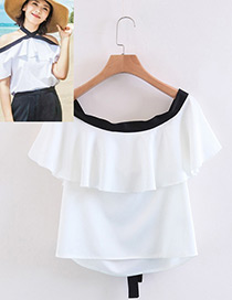 Elegant White Off The Shoulder Decorated Blouse