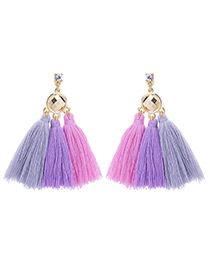 Bohemia Pink+purple Color-matching Decorated Tassel Earrings