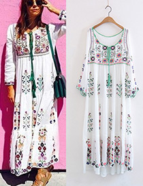 Bohemia White Embroidery Flower Shape Decorated Long Dress Reviews