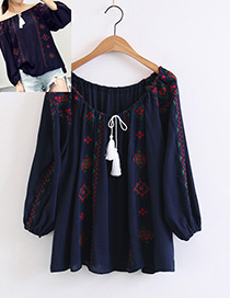 Bohemia Navy Off The Shoulder Decorated Blouse