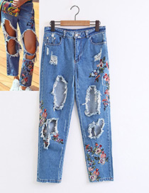 Fashion Light Blue Embroidery Flower Shape Decorated Jeans