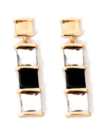 Elegant Gold Color Square Shape Decorated Earrings